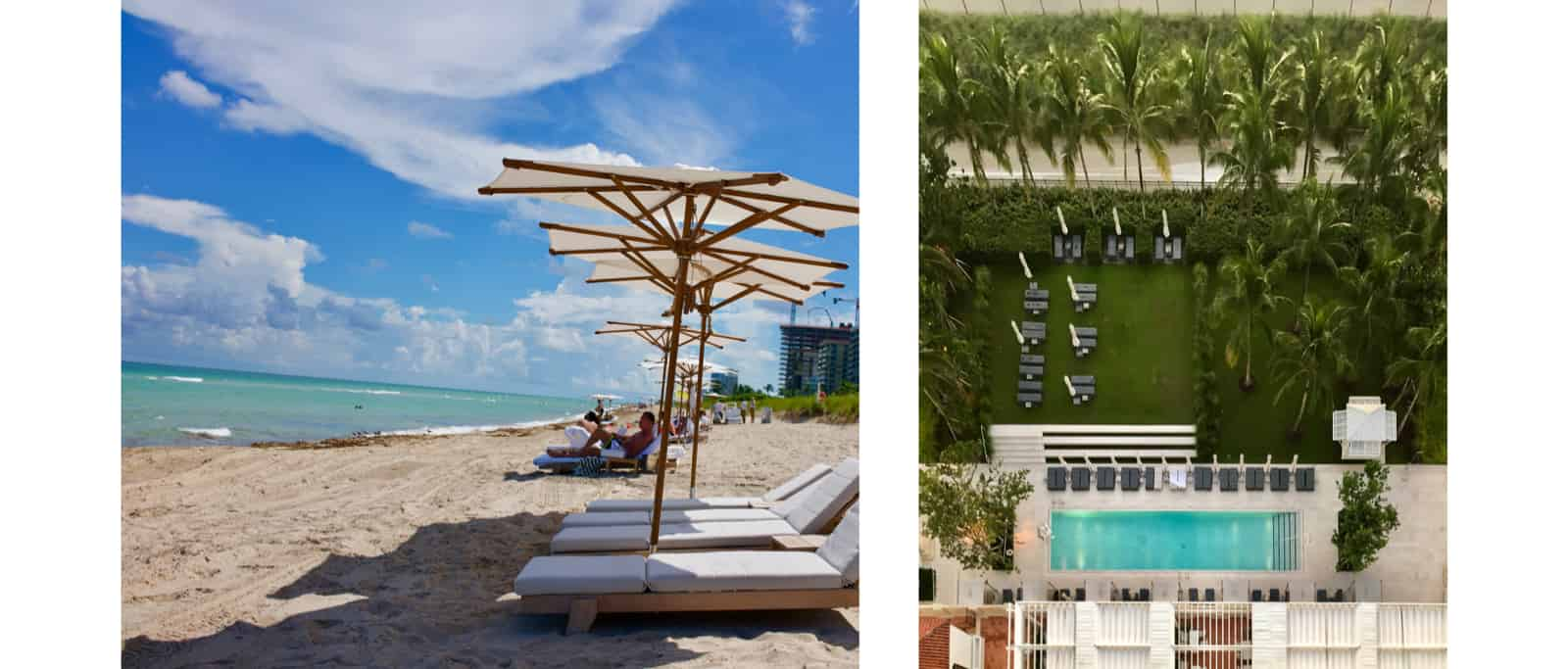 Two images from left to right. The left one is of some loungers on the beach protected by numerous umbrellas, wiht some more about 20ft away. The right one is an overhead view of a pool with chairs all around, and some landscaping between it and a road.
