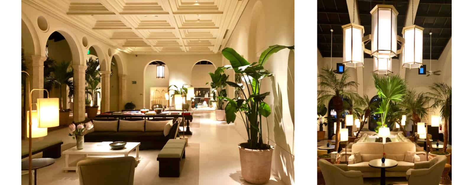 Two views of the Four Seasons Surf Club lobby ordered horizontally.