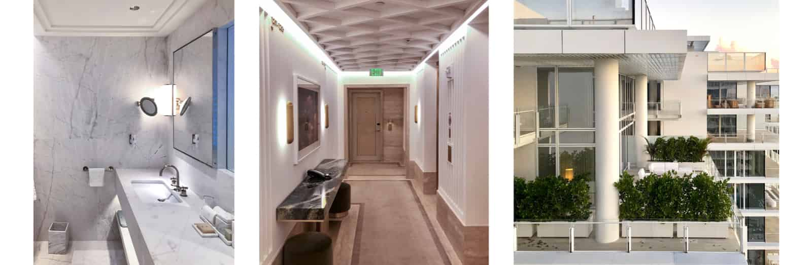 Three images arranged horizontally. Leftmost is an image of a white marble bathroom inside the hotel room. In the middle is a image of the beige textured hallway, and rightmost is an image of a balcony garden at the Surf Club residences.